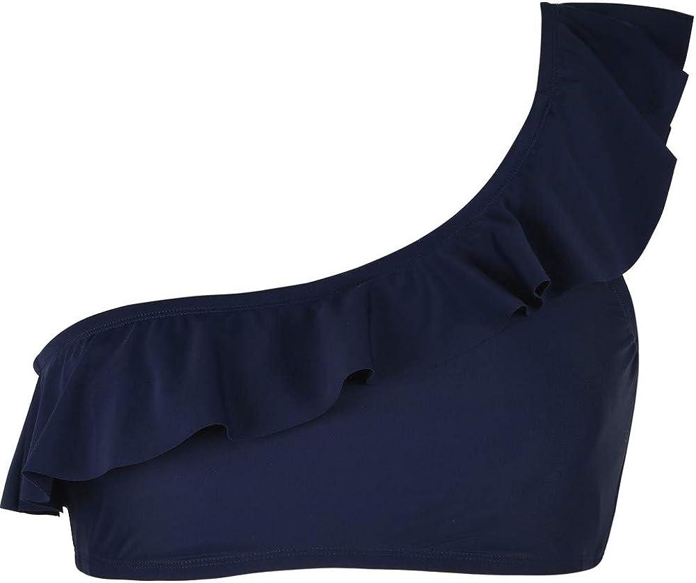 Firpearl Womens Bikini Tops One Shoulder Swimsuits Ruffle Bathing Suit Top