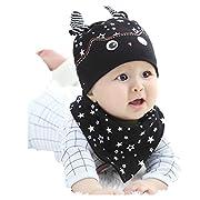 Iuhan 2PCS/Set Baby Girls Cartoon Hat+Bandana Bib Saliva Towel Cute Head Scarf Cap (Black)