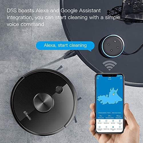 Ultenic Aspirateur Robot D5s, Connecté Wi-FI et Alexa, Nettoyage Efficace sur Programmation, 3 en 1 Nettoyeur et Laveur, Nettoyer et Laver Simultanément, Contrôle avec Alexa & App - Home Robots