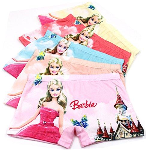 2-8 Years Girl's Barbie Pincess Boyshort Panties Toddler Character Underwear 5 Pack (Barbie Panties)