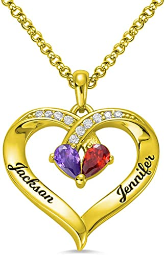 Getname Necklace Personalized Intertwined Hearts Necklace Birthstones Necklace 2 Names//3 Names//4 Names//5 Names Heart Pendant