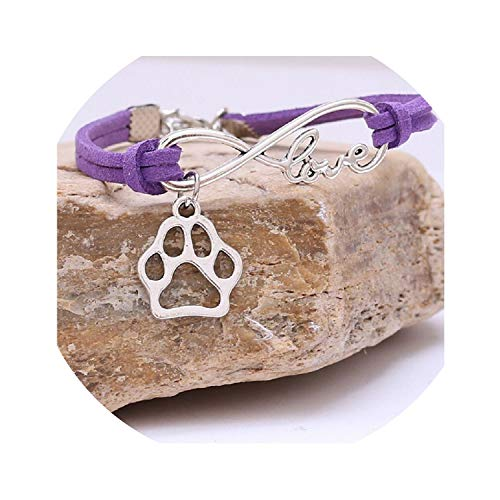 Leather Pattern Vintage Style Paw Dog Rope Wrap Bracelets for Women Fashion Jewelry Gift,Purple