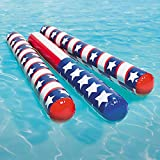 Inflatable Pool Noodles - Patriotic Themed 4' Ft (6-Pack)
