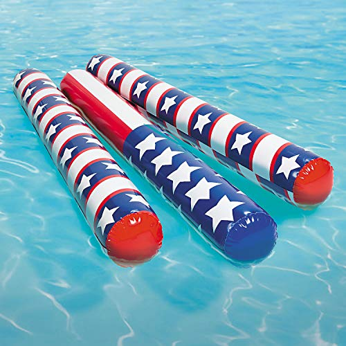 Inflatable Pool Noodles - Patriotic Themed 4' Ft (6-Pack) (Flag Float)