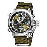 eYotto Men's Sports Digital Watches Nylon Canvas Strap Military Wrist Watch Quartz Analog Display 30M Waterproof Army Green