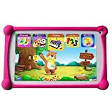 Kids Tablet, B.B.PAW 7 inch 1G+8G WiFi Android Tablet with 120+ English Preloaded Learning&Training Apps and Protective Case for Kids-Red