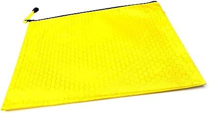 Estuche de almacenamiento para documentos con cremallera, tamaño A4, color amarillo, paquete de 5: Amazon.es: Oficina y papelería