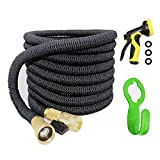 Garden Hose, 50ft Expanding Hose, Water Hose Flexible Extra Strength Fabric 5000D High temperature Latex and Solid Brass Connector for Car Garden House 9 Funtions Spray Nozzle By wholev