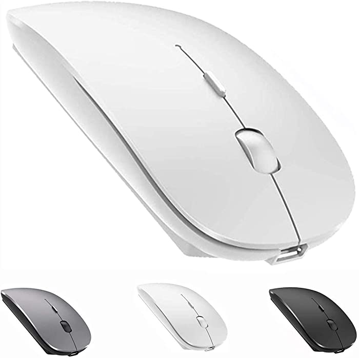 Bluetooth Mouse Rechargeable Wireless Mouse for MacBook Pro,Bluetooth Wireless Mouse for Laptop PC Computer (White)
