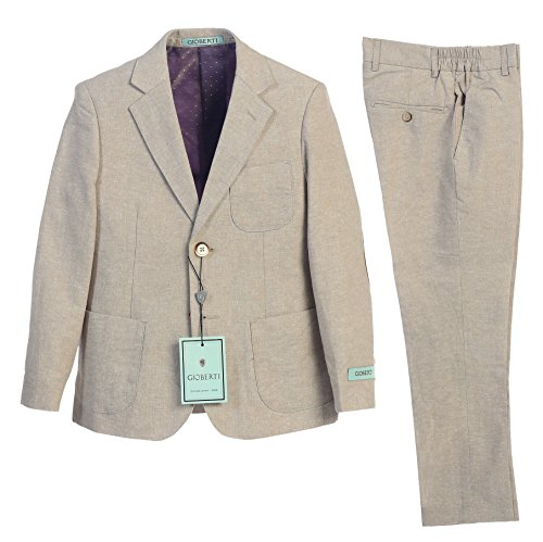 Gioberti Boy's Linen Suit Set Jacket and Dress Pants, Stone, Size 18