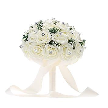 Anself white wedding flower bouquet decoration supplies with 30 anself white wedding flower bouquet decoration supplies with 30 hand made diamond roses junglespirit Images