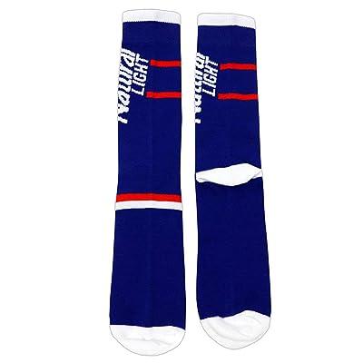 H3 Sportsgear Natural Light Vertical Logo Blue Crew Socks at Men's Clothing store