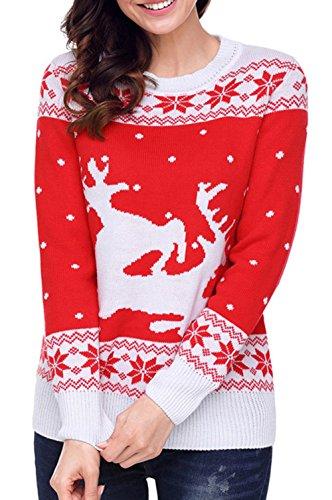 copos Navidad la suéter de de de Traje las Bambi la de del de de Traje Santa de oscilación de reno los la reno Red de la suéter retro el del Navidad manga larga Scothen con nieve pared jersey del mujeres wBqtxC51