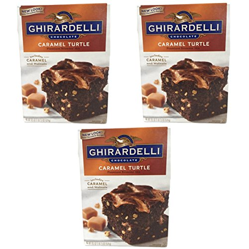 Brownie Turtle - Ghirardelli Chocolate Lovers Caramel Turtle Brownie Mix - Pack of 3, 18.5oz boxes with Caramel and Walnuts