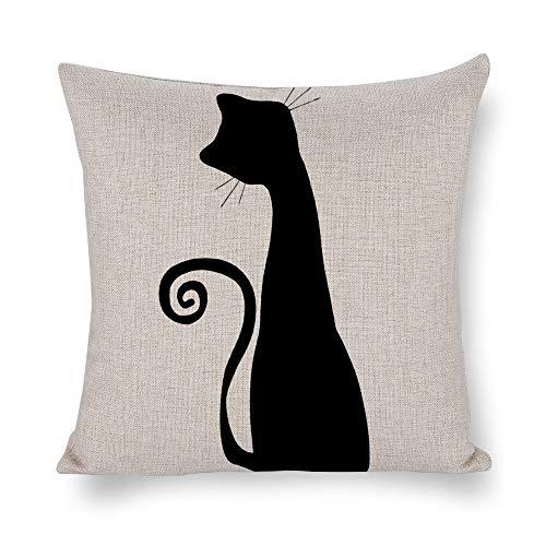 YyBbFf Throw Pillow Cushion Cover,silueta gato Halloween Decorative Throw Pillow Covers,18x18Inches, Khaki -