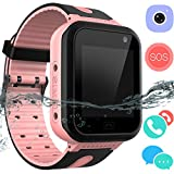 Kid Smartwatch GPS Tracker - Wrist Phone Game Watch SOS Anti-lost Alarm Remote Monitor with SIM Card Touch Screen Birthday Gifts for Children Boys Girls for iPhone Android (01 S7 Waterproof Pink)