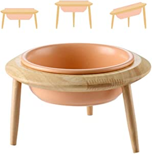 LIONWEI LIONWELI Orange Ceramic Adjustable Elevated Raised Pet Bowl with Wood Stand for Cats and Dogs No Spill Pet Food Water Feeder (3 Installation Methods for Different Height) Large