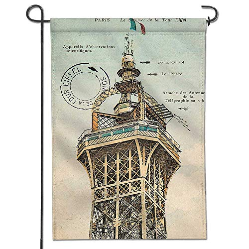 Mikihome Garden Flag Decor Collection Vintage Postcard with Eiffel Tower in Paris France 1910 Rare Antique Home Sweet Home Double Sided Decorative Flags for ()