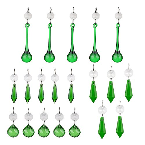 H&D Green Crystal Teardrop Crystal Ball Chandelier Prisms Pendants Suncatcher Hanging Galss Crystal Beads for Wedding Home Office Decoration,20pcs
