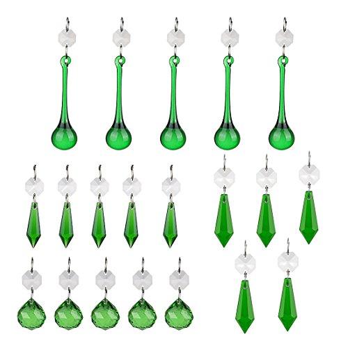 Green Crystal Chandelier - H&D Green Crystal Teardrop Crystal Ball Chandelier Prisms Pendants Suncatcher Hanging Galss Crystal Beads for Wedding Home Office Decoration,20pcs