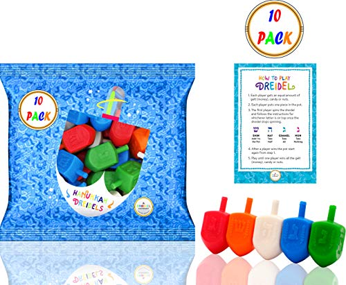 - Hanukkah Dreidels Pack Multi-Color Plastic Chanuka Draydels with English Transliteration - Includes Dreidel Game Instruction Cards (10-Pack)