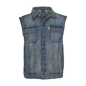 08abb190e0 Men Vest Denim Jeans Stonewashed Blue Gilet Sleeveless Collar X Bikers  Motorcyclists 2XL denim  Amazon.co.uk  Car   Motorbike