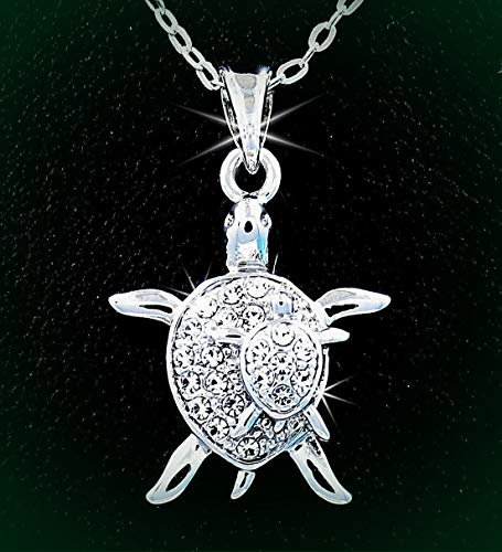 Mommy & Me Silver Tone Turtle Austrian Crystal Pendant 24
