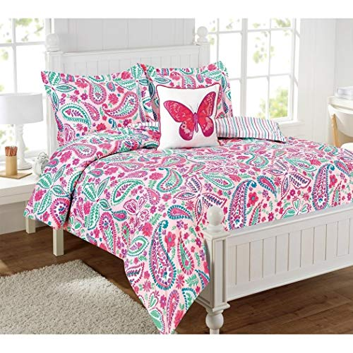N-A 3 Piece Girls Pink Paisley Floral Butterfly Comforter Twin Set, Cute Girly Multi Flower Scroll Themed Bedding, Vibrant Purple Green Blue White Dot Butterflies Water Color Pattern, Polyester