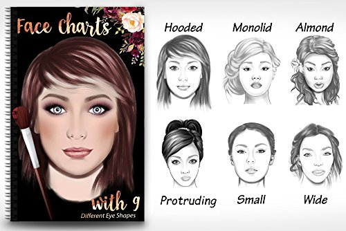 Makeup Artist Face Chart Book- 9 Different eye shapes & Nationalities - Different The Face Shapes