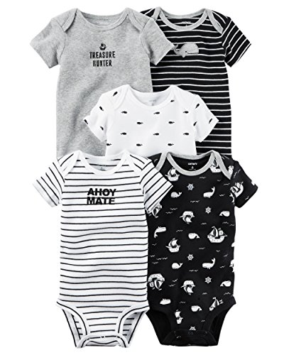 William Carter Baby Boys' 5 Pack Colored Bodysuits (Baby) Ahoy Mate, Newborn