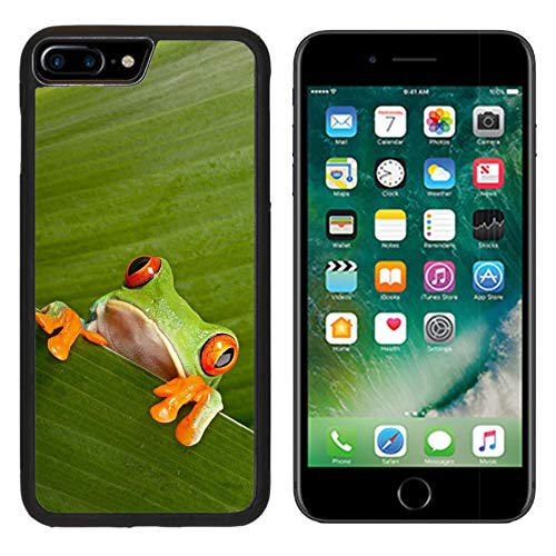 Liili Premium Apple iPhone 8 Plus Aluminum Backplate Bumper Snap Case red Eyed Tree Frog Peeping curiously Between Green Leafs in Rainforest Costa Rica Curious Cute Night Image
