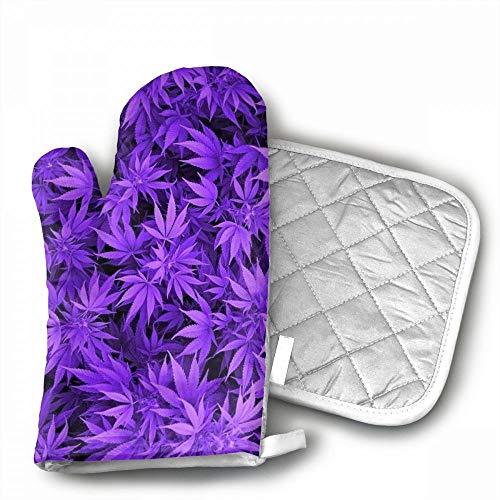Marijuana Weed Leaf Oven Mitts,Professional Heat Resistant M