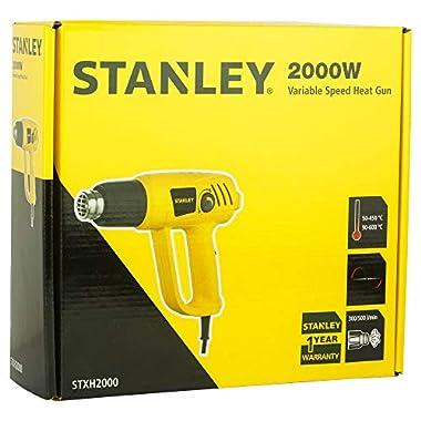 STANLEY STXH2000 2000W Variable Speed Heat Gun (Yellow and Black) 14