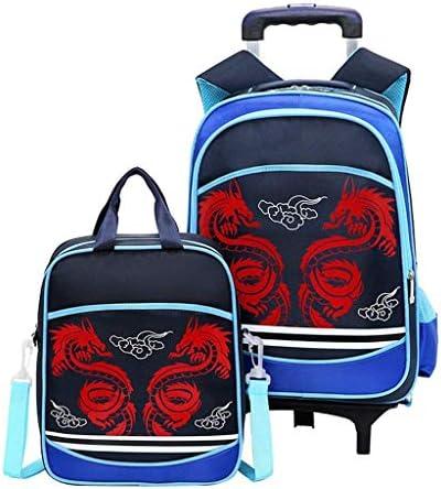 BAJIMI ハイキングバックパック、学生のバックパック、スクールバッグバックパックローリングトロリーバッグかわいい印刷クライミング階段男女小学生のトロリーバッグアウトドア旅行子供のハンドバッグ、ブルー