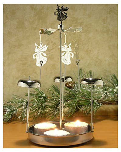 Spinning Angels Tealight Candle Holder with Bell Chimes Swedish Scandinavian Design Metal (Metal Angels Candle Holder)