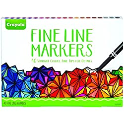 Crayola Fine Line Markers, 40Ct Fine Tip Markersfor Details,Adult Coloring Supplies