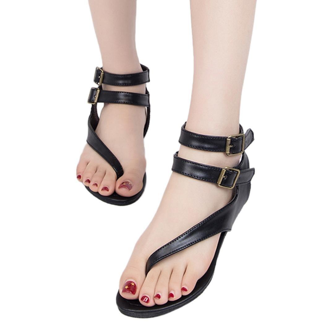Clearance Universal Womens Cross Toe Double Buckle Strap Summer Leather Sandal Flat Strappy Gladiator Low Heel Flip Flops (Size 8, Black)