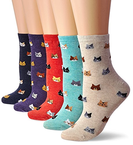 DearMy Womens Cute Design Casual Cotton Crew Socks for Gift Idea One Size Fits All (Tiny Kitty 5 Pairs) -