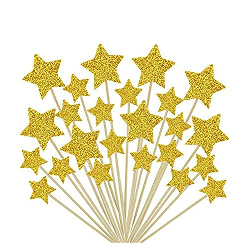 36 Pcs Twinkle Gold Star Cupcake Toppers DIY Glitter Mini Birthday Cake Snack Decorations Picks Suppliers Party Accessories for Wedding Baby Shower