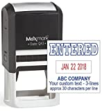 MaxMark Q43 (Large Size) Date Stamp with ENTERED and Custom Text, Self Inking Stamp - 2 Color Blue/Red Ink