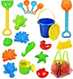 Click N Play 18 Piece Beach Sand Toy Set, Bucket, Shovels, Rakes, Watering Can, Molds