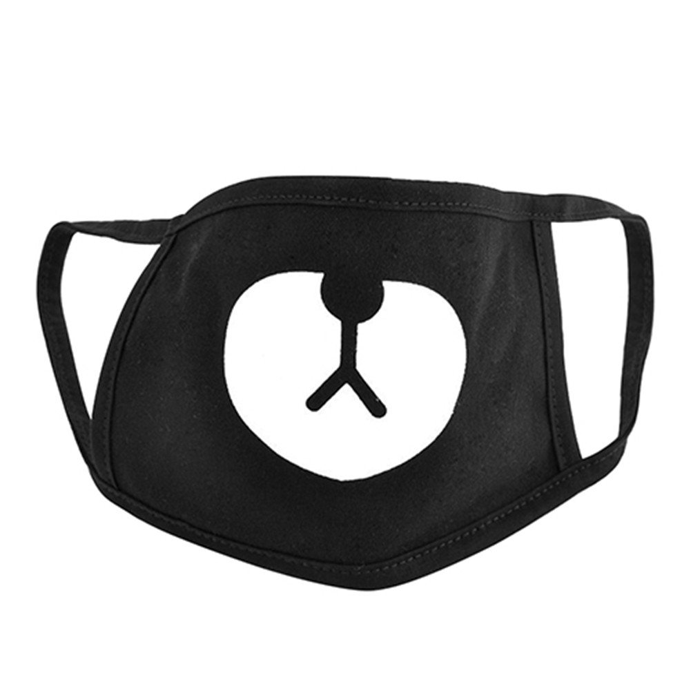 FinancePlan Reusable Mouth Mask, Bear Face Emoticon Mask Unisex Protective Earloop Anti-Dust Cotton Mask