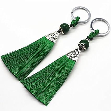2 colgantes hilos de seda verde esmeralda para manualidades, joyeria, bolsos, monederos, llaveros, estuches, collares, decoracion cajones. ...