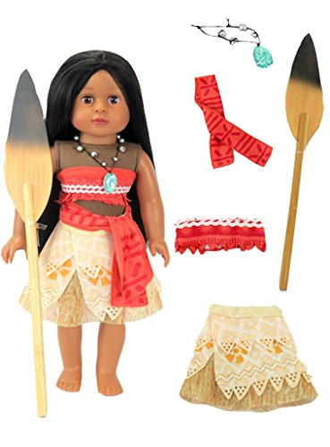 Broken Doll Clothing - Moana Inspired Outfit with Wooden Paddle | Fits 18