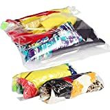 Lekors Travel Space Saver Bags - 4 Large and 4 Medium Travel Compression Bags - Pack of 8 Ziplock Packing Bags for Travel - Double Zipper - Reusable - No Pump or Vacuum Needed