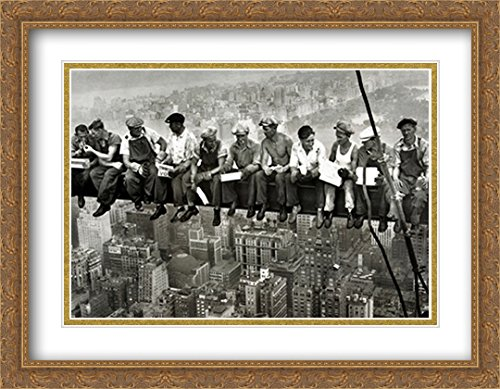 Lunchtime ATOP a Skyscraper, c.1932 2X Matted 36x28 Large Gold Ornate Framed Art Print by Charles C. Ebbets 1932 Gold Framed Print