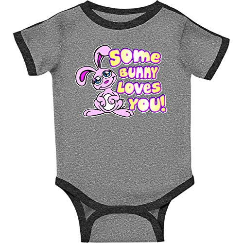 - inktastic Some Bunny Loves You Infant Creeper 18 Months Ringer Heather and Smoke