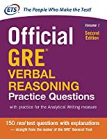 Official GRE Verbal Reasoning Practice Questions, 2nd Edition, Volume 1 Front Cover
