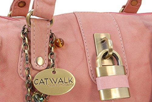 Lederhandtasche Chancery von Catwalk Collection - Größe: B: 34,25 H: 16 T: 9 cm Rosa