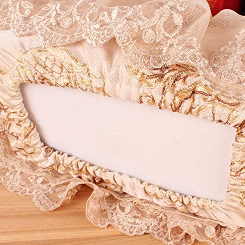 Monland Embroidery Style Tissue Box Pumping Paper Towels Box Cover Bathroom Ware Mary Pastoral Lace Fabric Cover Brown
